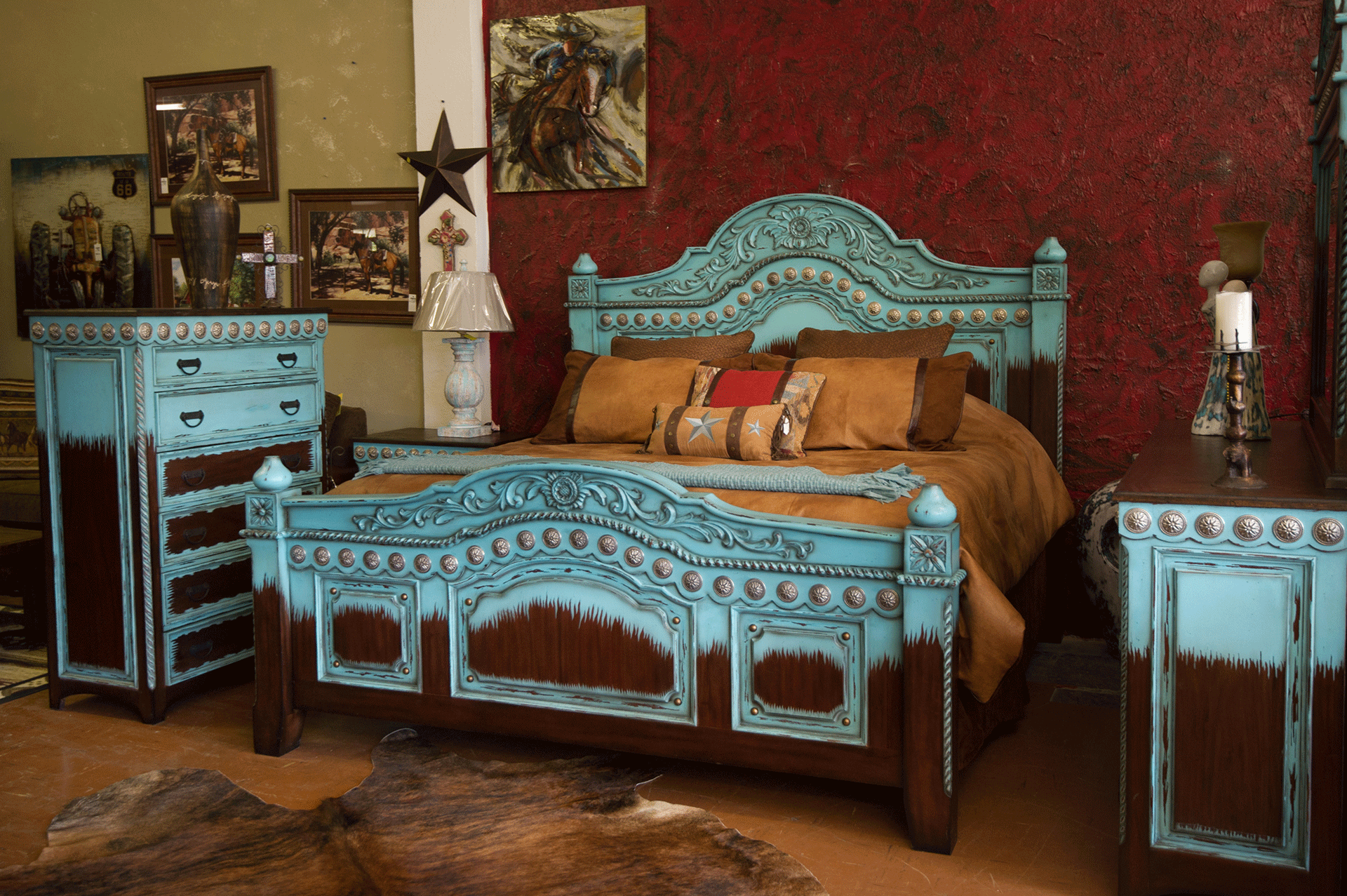 WI Turquoise bed set. Bedroom   Santa Fe Terra Western Furniture