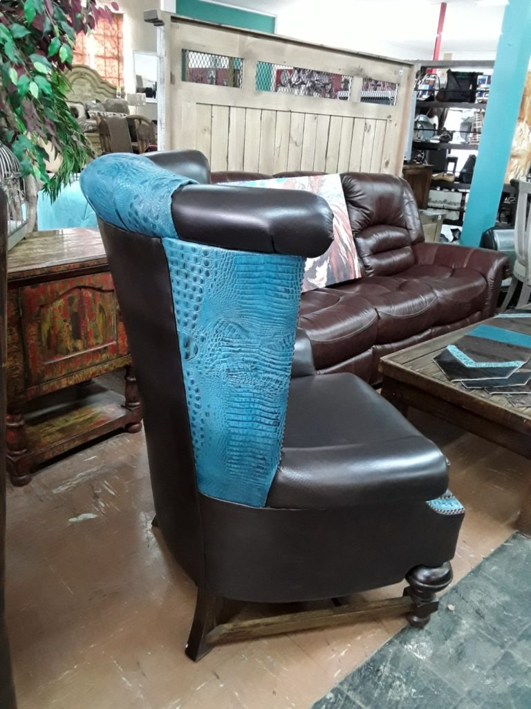 Leather Wind Chair with Turquoise Alligator