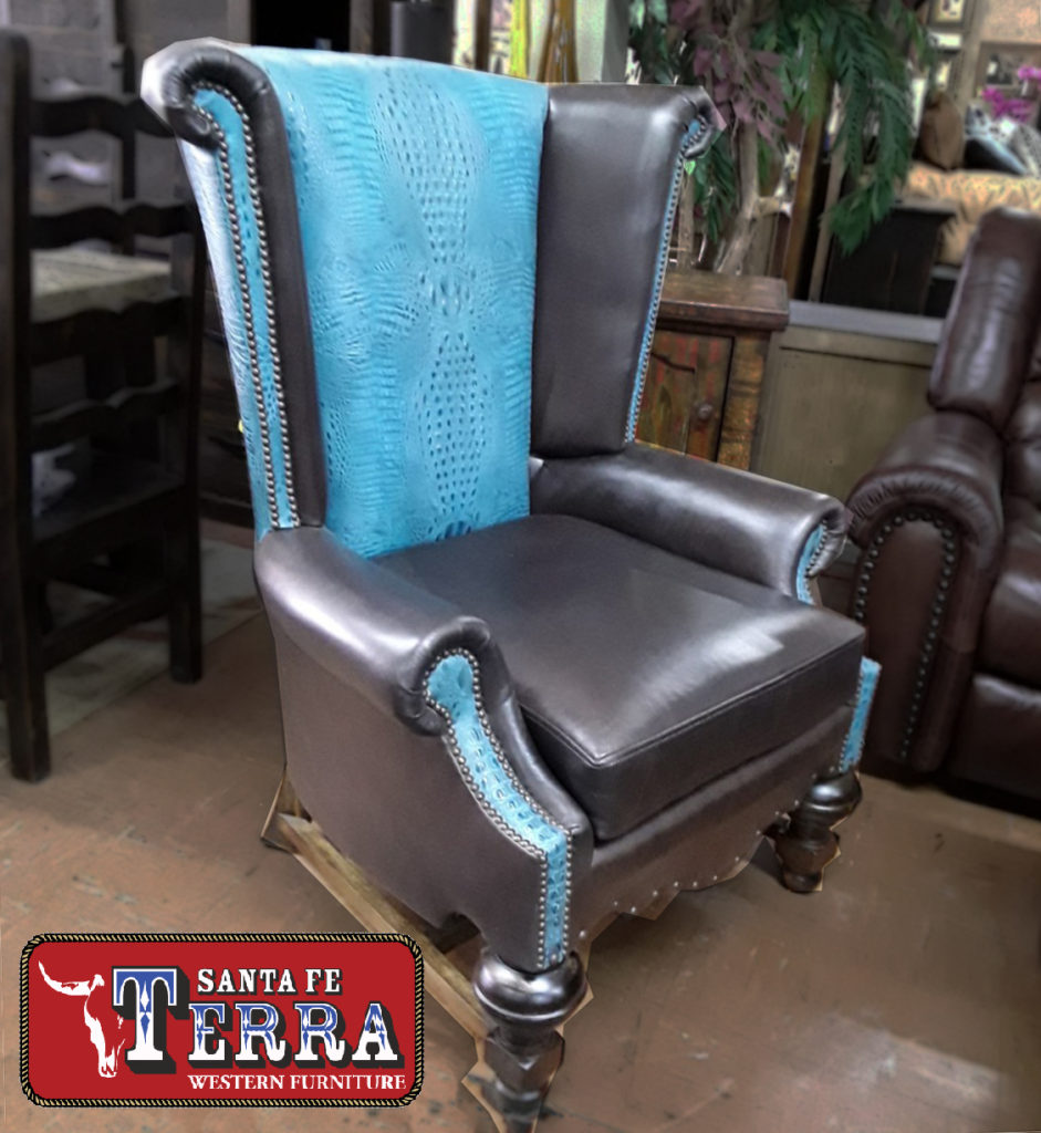 FD Leather Wind Chair with Turquoise Alligator