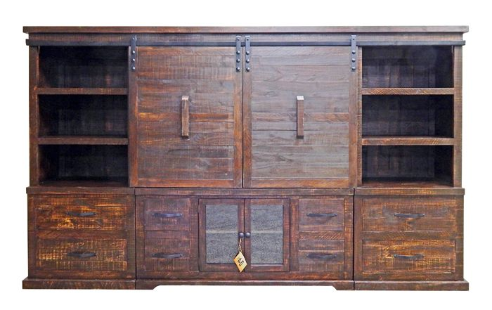"Barn door entertainment center 123""W x 73""H x 18""D"